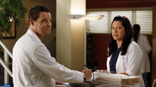 "GREY'S ANATOMY - ""I Was Made for Lovin' You"" - Cristina and Owen continue to figure out their relationship amidst the pending lawsuit; and Bailey argues with Ben over plans for their upcoming nuptials. Meanwhile, Callie recruits Jackson to help find a solution to Derek's hand, but he is preoccupied by a shocking situation with April, on ""Grey's Anatomy,"" THURSDAY, NOVEMBER 29 (9:00-10:02 p.m., ET) on the ABC Television Network. (ABC/KELSEY MCNEAL)JUSTIN CHAMBERS, SARA RAMIREZ"