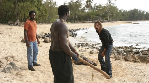 "LOST - ""Orientation"" - Jack, Locke and Kate learn more secrets about the hatch. Meanwhile, after being beaten and taken captive, Sawyer, Michael and Jin wonder if their captors are fellow survivors or the dreaded ""Others."" Katey Sagal guest stars, on ""Lost,"" WEDNESDAY, OCTOBER 5 (9:00-10:00 p.m., ET), on the ABC Television Network. (ABC/MARIO PEREZ)HAROLD PERRINEAU, ADEWALE AKINNUOYE-AGBAJE, DANIEL DAE KIM, JOSH HOLLOWAY"
