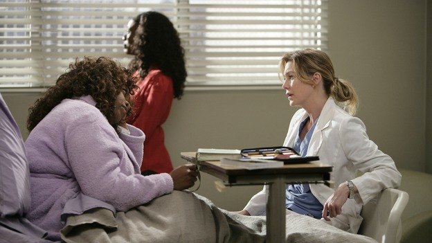 "GREY'S ANATOMY - ""Losing My Mind"" - Dr. Wyatt refuses to let Meredith give up on therapy, Alex learns the truth about Rebecca's medical condition, the Chief insists that Erica perform a risky surgery on his mentor, and after receiving news of Burke, Cristina continues to do things contrary to her nature, going so far as cleaning her always-messy apartment, on ""Grey's Anatomy,"" THURSDAY, MAY 15 (9:00-10:02 p.m., ET) on the ABC Television Network. (ABC/MITCH HADDAD)REGINA TAYLOR, APRIL GRACE, ELLEN POMPEO"
