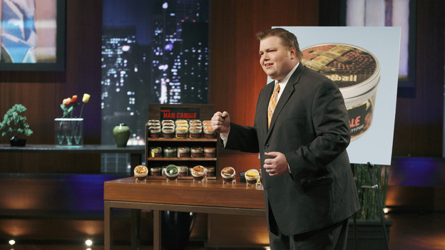 "SHARK TANK -""Episode 204"" -- Tempers flare when guest Shark Mark Cuban urges the entrepreneurs to stop negotiating with the other Sharks if they even want a chance to make a business deal with him. In this episode, a fireman from Arkansas brings an invention to the Shark Tank that could make millions and save lives; after creating an eco-friendly way to listen to music on the go, a duo from Chicago hope the Sharks will want to invest; a feisty, combative entrepreneur from Montclair, New Jersey seeks to cash in on the lucrative wedding business; and a man from Oklahoma hopes the Sharks will smell the money when he pitches his unique male-oriented brand of candles, on ""Shark Tank,"" FRIDAY, MAY 6 (8:00-9:00 p.m., ET) on the ABC Television Network. (ABC/CRAIG SJODIN)JOHNSON BAILEY (MAN CANDLE)"