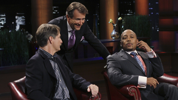 "SHARK TANK - ""Episode 203"" - While successful comedian and businessman Jeff Foxworthy makes his debut as a guest ""Shark"" investor, Vincent Pastore (""The Sopranos"") becomes the first celebrity to pitch a business proposition to the Sharks. He and his New Jersey business partner present a novel idea that could have everyone holding on tighter to their money. Also, a flight attendant and her husband, from Georgia, believe their unique portable child's seat will help make traveling with kids much easier; a duo from Florida believe they have the next big lifestyle clothing brand; an entrepreneur from North Carolina has an emotional attachment to a business his father started before he passed away; and there'll be an update on Tiffany Krumin, the maker of Ava the Elephant, a device that went from a home-made prototype to a mass-produced product sold in retail chains nationwide, on ""Shark Tank,"" FRIDAY, APRIL 8 (8:00-9:00 p.m., ET) on ABC. (ABC/MICHAEL ANSELL)JEFF FOXWORTHY, ROBERT HERJAVEC, DAYMOND JOHN"