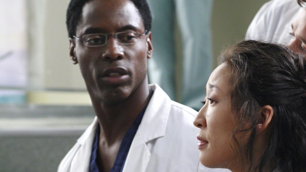 GREY'S ANATOMY - &quot;Scars and Souvenirs&quot; - The race for chief heats up after a new competitor enters the fray, tensions escalate between Izzie and George, and Callie must reveal a big secret. Meanwhile, Derek treats a patient near and dear to him, while Alex continues his work with Jane Doe, on &quot;Grey's Anatomy,&quot; THURSDAY, MARCH 15 (9:00-10:01 p.m., ET) on the ABC Television Network. (ABC/RON TOM)ISAIAH WASHINGTON, SANDRA OH