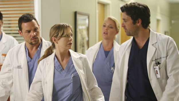 "GREY'S ANATOMY - ""Here Comes the Flood"" - A plumbing leak becomes a deluge and wreaks havoc at Seattle Grace, as the Chief attempts to implement new teaching policies and George tries to retake his residency exam; meanwhile Derek hopes to move the roommates out of Meredith's house, to their surprise, on ""Grey's Anatomy,"" THURSDAY, OCTOBER 9 (9:00-10:01 p.m., ET) on the ABC Television Network. (ABC/DANNY FELD)JUSTIN CHAMBERS, ELLEN POMPEO, KATHERINE HEIGL, PATRICK DEMPSEY"