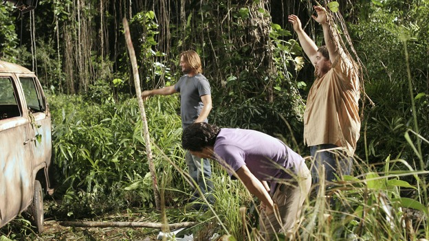 "LOST - ""Tricia Tanaka Is Dead"" - Hurley's discovery of an old, wrecked car on the island leads him on a mission of hope not only for himself, but for a fellow survivor in need of some faith. Meanwhile, Kate and Sawyer reunite with their fellow castaways, but Kate is still torn about leaving Jack behind with ""The Others,"" on ""Lost,"" WEDNESDAY, FEBRUARY 28 (10:00-10:00 p.m., ET), on the ABC Television Network. (ABC/MARIO PEREZ)JOSH HOLLOWAY, DANIEL DAE KIM, JORGE GARCIA"