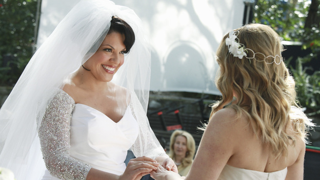 "GREY'S ANATOMY - ""White Wedding"" - As Callie and Arizona's wedding approaches, the couple quickly realize that the day they've been looking forward to is not turning out the way they'd envisioned. Meanwhile Alex continues to make the other residents jealous as he appears to be the top contender for Chief Resident, Meredith and Derek make a decision that will change their lives forever, and Dr. Perkins presents Teddy with a very tempting proposition, on Grey's Anatomy,"" THURSDAY, MAY 5 (9:00-10:01 p.m., ET) on the ABC Television Network. (ABC/RICHARD CARTWRIGHT)SARA RAMIREZ, JESSICA CAPSHAW"