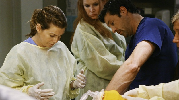 "GREY'S ANATOMY - ""Now or Never"" - Drs. Meredith Grey and Derek Shepherd work on patient ""John Doe,"" on ""Grey's Anatomy,"" THURSDAY, MAY 14 (9:00-11:00 p.m., ET) on the ABC Television Network. ELLEN POMPEO, PATRICK DEMPSEY"