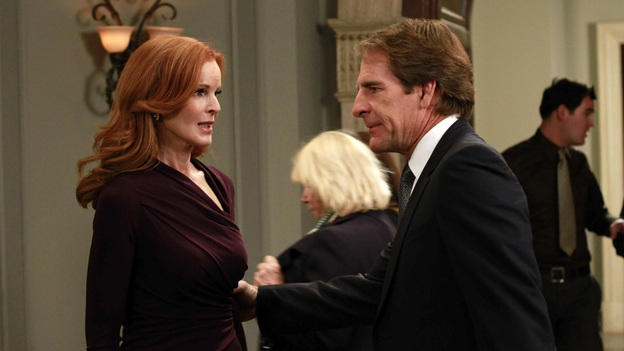 "DESPERATE HOUSEWIVES - ""Give Me the Blame"" - All good things eventually come to an end, and in the two hour finale, ""Give Me the Blame"" / ""Finishing the Hat,"" Trip (Scott Bakula) begs Bree to tell him what really happened the night of Alejandro's murder as her trial begins to go south and it looks like she's about to be convicted; Gaby tries to come up with a solution that will take the burden off of Bree; Susan tries to keep the sale of her house private until she's had a chance to break the news to the ladies; Katherine Mayfair (Dana Delany) returns to Wisteria Lane and offers Lynette an intriguing job opportunity - which could end her chances of reconciling with Tom; the women all agree to take care of Mrs. McCluskey when they discover that she wants to die with dignity at home; Susan finds herself at wits end when Julie goes into labor at the most inopportune time; and Renee is shocked to discover that, as their wedding nears, Ben has been arrested and thrown in jail. ""Desperate Housewives"" ends its successful eight-season run on the ABC Television Network with a splashy two-hour finale event on SUNDAY, MAY 13 (9:00-11:00 p.m., ET). (ABC/RON TOM)MARCIA CROSS, SCOTT BAKULA"