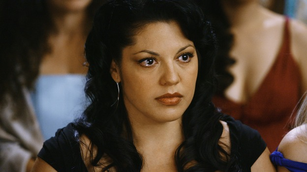 "GREY'S ANATOMY - ""What a Difference a Day Makes"" - Callie watches the wedding of Izzie and Alex, on ""Grey's Anatomy,"" THURSDAY, MAY 7 (9:00-10:02 p.m., ET) on the ABC Television Network. (ABC/SCOTT GARFIELD) SARA RAMIREZ"