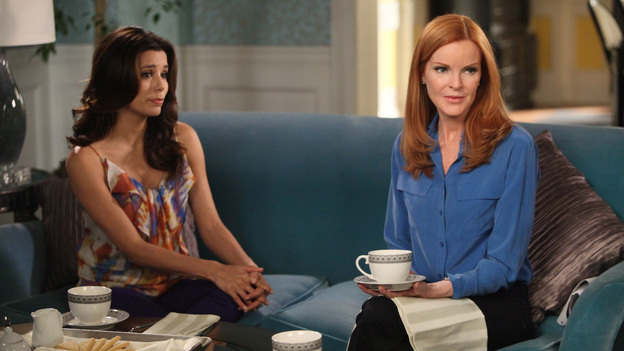 "DESPERATE HOUSEWIVES - ""Lost My Power"" - With Mike gone, Susan attempts to build a car for MJ's father-and-son school soapbox derby; Bree's attorney, Trip (Scott Bakula), learns of her previous drunken sexual spree and needs her to come clean about it in order to help strengthen her case; Lynette tries to cause some negative friction between Tom and his girlfriend, Jane, by flirting with his boss and getting him to pile more work on her estranged husband; Gaby is furious with Carlos when he tries to poach one of her rich, personal shopper clients (Doris Roberts) and talk her into helping with his newly formed charity organization; and Renee discovers that Ben is keeping a secret from her about his involvement with Bree -- and the body found at his work site -- on ""Desperate Housewives,"" SUNDAY, APRIL 29 (9:01-10:01 p.m., ET) on the ABC Television Network. (ABC/DANNY FELD)EVA LONGORIA, MARCIA CROSS"