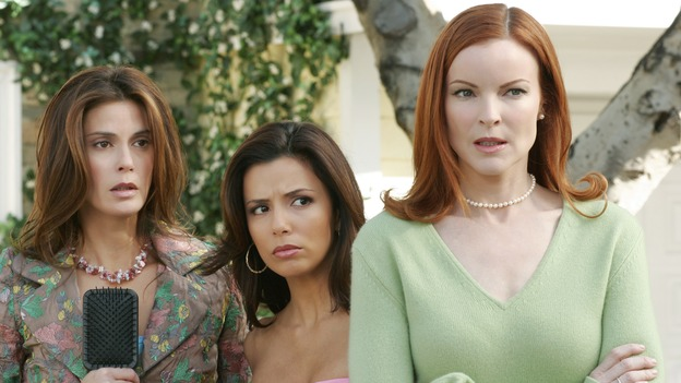 "DESPERATE HOUSEWIVES - ""I Wish I Could Forget You"" -- As Carlos continues serving his jail sentence, Gabrielle valiantly tries to free him. Meanwhile Mike and Susan face a crisis in their relationship, and Paul Young returns, on Desperate Housewives,"" SUNDAY, XXXX (9:00-10:01 p.m., ET) on the ABC Television Network. (ABC/RON TOM)TERI HATCHER, EVA LONGORIA, MARCIA CROSS"