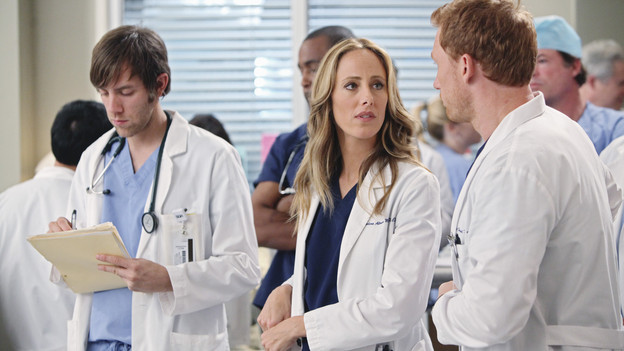 "GREY'S ANATOMY - ""State of Love and Trust"" - As Derek begins his role as interim chief, he faces a potential lawsuit when Bailey and Meredith's patient awakens from anesthesia mid-surgery. Meanwhile, Teddy refuses to place Cristina on her service, as Arizona tests Alex out in Pediatrics, and Mark refuses to speak to a heartbroken Lexie, on ""Grey's Anatomy,"" THURSDAY, FEBRUARY 4 (9:00-10:01 p.m., ET) on the ABC Television Network. (ABC/ADAM LARKEY)KIM RAVER, KEVIN MCKIDD"
