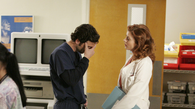 "102468_7257 -- GREY'S ANATOMY - ""RAINDROPS KEEP FALLING ON MY HEAD"" (ABC/CRAIG SJODIN)PATRICK DEMPSEY, KATE WALSH"