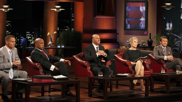 "SHARK TANK - ""Episode 207"" -- A fiery entrepreneur from Washington, DC comes to the Shark Tank with her line of luxury maternity gowns; a Southern belle from South Carolina believes her homemade cakes will be the best the Sharks have ever tasted; and a couple from Minnesota believe their business idea of a cooler fitting inside a golf bag is a sure-fire way to save money on the golf course. Also, the Sharks fight over a product invented by a stay-at-home dad inspired by his long days cleaning up after his kids, and there will be a follow-up on the duo behind Grease Monkey Wipes -- whose impassioned plea in Season 1 landed them a deal with Robert and Barbara -- on ""Shark Tank,"" FRIDAY, APRIL 29 (8:00-9:00 p.m., ET). (ABC/CRAIG SJODIN)KEVIN HARRINGTON, DAYMOND JOHN, KEVIN O'LEARY, BARBARA CORCORAN, ROBERT HERJAVEC"