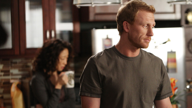 "GREY'S ANATOMY - ""Support System"" - A devastated Cristina presses Owen to confess the intimate details of his affair; Mark takes his new authority very seriously when he steps in as chief for the day and butts heads with Richard over a patient's liver transplant; and Callie deems Meredith ready for the boards, while the rest of the residents continue to stress about the exam. Meanwhile, Callie, Arizona and Bailey plan a much needed ladies night for Teddy, on ""Grey's Anatomy,"" THURSDAY, APRIL 12 (10:01-11:00 p.m., ET) on the ABC Television Network. (ABC/ADAM LARKEY)SANDRA OH, KEVIN MCKIDD"