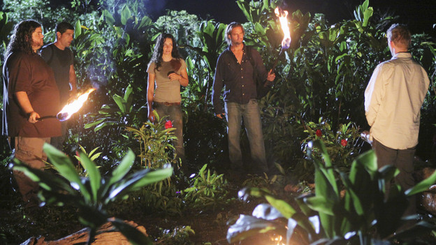 "LOST - ""What They Died For"" - While Locke devises a new strategy, Jack's group searches for Desmond, on ""Lost,"" TUESDAY, MAY 18 (9:00-10:02 p.m., ET) on the ABC Television Network. (ABC/MARIO PEREZ)JORGE GARCIA, MATTHEW FOX, EVANGELINE LILLY, JOSH HOLLOWAY, MARK PELLEGRINO"