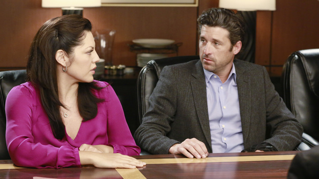 "GREY'S ANATOMY - ""Second Opinion"" - As the doctors continue with their lawsuit, they're forced to confront the realities of their injuries. Meanwhile, Bailey tricks Arizona into helping her with a pediatric case, and Cristina tries to find normalcy in her new environment, on ""Grey's Anatomy,"" THURSDAY, NOVEMBER 15 (9:00-10:02 p.m., ET) on the ABC Television Network. (ABC/RON TOM)SARA RAMIREZ, PATRICK DEMPSEY"