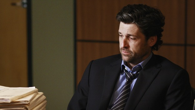 "GREY'S ANATOMY - ""I Will Follow You into the Dark"" - Derek is heartbroken as he's confronted with the sheer number of patients he's lost versus the few he's saved, on ""Grey's Anatomy,"" THURSDAY, MARCH 12 (9:00-10:02 p.m., ET) on the ABC Television Network. (ABC/RON TOM) PATRICK DEMPSEY"