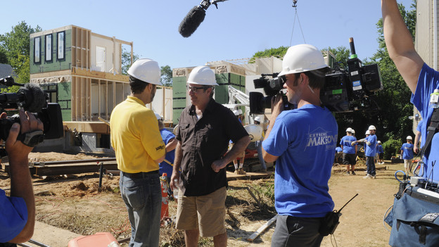 "EXTREME MAKEOVER: HOME EDITION - ""Boys Hope,"" Parts 1 & 2 - Ty Pennington and his design team, including new designers Xzibit and Jillian Harris, traveled to Baltimore, Maryland, to surprise the students of Boys Hope/Girls Hope in a unique way and reveal to them that their lives were about to change. For the first time in the history of the show, the recipients were surprised on live television when the ""EM: HE"" team greeted the students with the good news. Another first in the show's 170-plus episode history came unannounced, courtesy of Mother Nature, when an epic rainstorm threatened to knock the 11,000 square foot build off its strict seven-day schedule. Adding to the excitement, drama and fun of the build was the participation of the kids from the Emmy Award-winning comedy ""Modern Family"" (Ariel Winter, Nolan Gould, Rico Rodriquez), actress Raven-Symon, basketball superstar Shaquille O'Neal and music sensation Katy Perry. The two-part episode airs SUNDAY, SEPTEMBER 26 (7:00-8:00 & 8:00-9:00 p.m., ET) on the ABC Television Network. (ABC/FRED WATKINS)PAUL DIMEO"