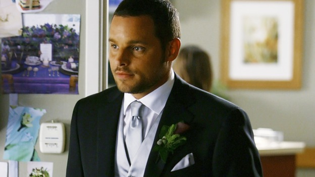 "GREY'S ANATOMY - ""What a Difference a Day Makes"" - Alex shows off his new tux to his bride-to-be, on ""Grey's Anatomy,"" THURSDAY, MAY 7 (9:00-10:02 p.m., ET) on the ABC Television Network. (ABC/SCOTT GARFIELD) JUSTIN CHAMBERS"