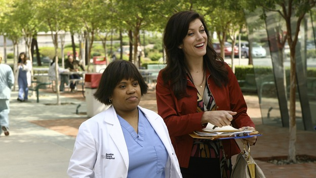 "GREY'S ANATOMY - ""Piece of My Heart"" - Addison returns to Seattle Grace to perform an operation and is taken aback by all of the changes in her old co-workers' lives. Meanwhile Meredith and Derek's clinical trial has its first patient, and Rebecca/Ava returns with shocking news for Alex, on ""Grey's Anatomy,"" THURSDAY, MAY 1 (9:00-10:01 p.m., ET) on the ABC Television Network.  (ABC/SCOTT GARFIELD)CHANDRA WILSON, KATE WALSH"