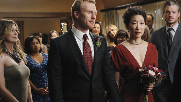 "GREY'S ANATOMY - ""With You I'm Born Again"" -- After an unforgettable and heart-pounding season finale, ""Grey's Anatomy"" returns for its seventh season on THURSDAY, SEPTEMBER 23 (9:00-10:01 p.m., ET) on the ABC Television Network. In the season premiere, the hospital staff is trying to deal with physical and emotional trauma in the wake of the deadly rampage of a vengeful gunman. As Dr. Perkins (James Tupper), a trauma counselor, is brought in to help in the recovery and to assess each doctor's readiness to return to work, Derek makes a spontaneous decision to resign as Chief and rushes back into surgery, taking everything a little too fast, and Cristina buries herself in her wedding planning. (ABC/PETER ""HOPPER"" STONE)ELLEN POMPEO, CHANDRA WILSON, CHYLER LEIGH (OBSCURED), KEVIN MCKIDD, SARA RAMIREZ, JESSICA CAPSHAW, SANDRA OH, ERIC DANE"