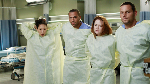 "GREY'S ANATOMY - ""She's Gone"" - In the second hour, ""She's Gone"" (10:00-11:00 p.m.), news of Meredith and Derek's unsteady relationship raises a red flag for Zola's adoption counselor; Alex quickly realizes that he has become the outcast of the group after ratting out Meredith; and Cristina makes a tough decision regarding her unexpected pregnancy. Also, Chief Webber brings Henry in for a last minute surgery, alarming Teddy. ""Grey's Anatomy"" returns for its eighth season with a two-hour event THURSDAY, SEPTEMBER 22 (9:00-11:00 p.m., ET) on the ABC Television Network. (ABC/RON TOM)SANDRA OH, JESSE WILLIAMS, SARAH DREW, JUSTIN CHAMBERS"