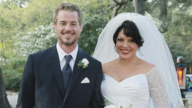 "GREY'S ANATOMY - ""White Wedding"" - As Callie and Arizona's wedding approaches, the couple quickly realize that the day they've been looking forward to is not turning out the way they'd envisioned. Meanwhile Alex continues to make the other residents jealous as he appears to be the top contender for Chief Resident, Meredith and Derek make a decision that will change their lives forever, and Dr. Perkins presents Teddy with a very tempting proposition, on Grey's Anatomy,"" THURSDAY, MAY 5 (9:00-10:01 p.m., ET) on the ABC Television Network. (ABC/RICHARD CARTWRIGHT)ERIC DANE, SARA RAMIREZ"
