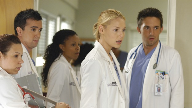 "GREY'S ANATOMY - ""Let the Truth Sting"" - The new interns are dazzled by the skill level of fellow intern George, while Lexie helps keep his ""repeater"" status a secret; Meredith half-heartedly helps Lexie with her first emergency patient; Sloan and Richard attempt a radical, new surgery to save a woman's ability to speak; and George is compelled to tell Callie of his past indiscretion with Izzie, on ""Grey's Anatomy,"" THURSDAY, OCTOBER 11 (9:00-10:01 p.m., ET) on the ABC Television Network.  (ABC/GALE ADLER)GLORIA GARAYUA, WINSTON STORY, TYMBERLEE CHANEL, KATHERINE HEIGL, RICHARD KEITH"