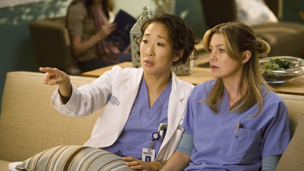 "GREY'S ANATOMY - ""Brave New World"" - Cristina and Meredith are enthralled by the mysterious world of dermatology, on ""Grey's Anatomy,"" THURSDAY, OCTOBER 16 (9:00-10:01 p.m., ET) on the ABC Television Network. (ABC/RANDY HOLMES) SANDRA OH, ELLEN POMPEO"