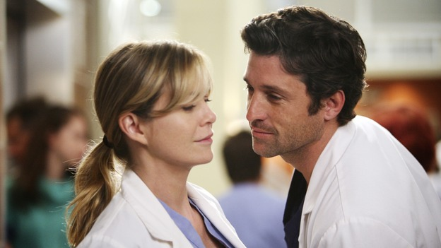 "GREY'S ANATOMY - ""Here Comes the Flood"" - A plumbing leak becomes a deluge and wreaks havoc at Seattle Grace, as the Chief attempts to implement new teaching policies and George tries to retake his residency exam; meanwhile Derek hopes to move the roommates out of Meredith's house, to their surprise, on ""Grey's Anatomy,"" THURSDAY, OCTOBER 9 (9:00-10:01 p.m., ET) on the ABC Television Network. (ABC/DANNY FELD)ELLEN POMPEO, PATRICK DEMPSEY"