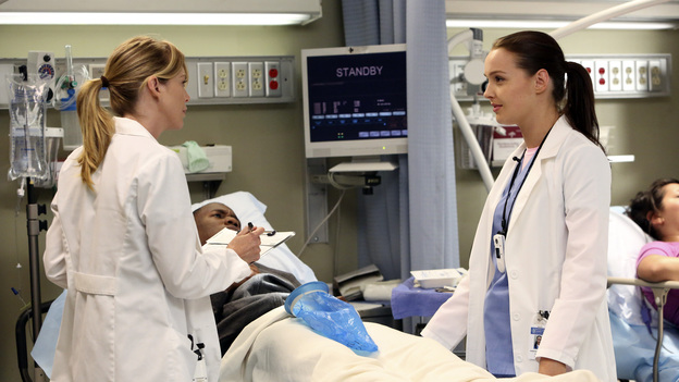 "GREY'S ANATOMY - ""Going Going Gone"" - The doctors of Seattle Grace are faced with the aftermath of last season's plane crash. As they try to move on with their lives, they must learn to adapt to the changes, cope with their losses and move forward with their relationships and careers, on the ninth-season premiere of ""Grey's Anatomy,"" THURSDAY, SEPTEMBER 27 (9:00-10:02 p.m., ET) on the ABC Television Network. (ABC/DANNY FELD)ELLEN POMPEO, CAMILLA LUDDINGTON"
