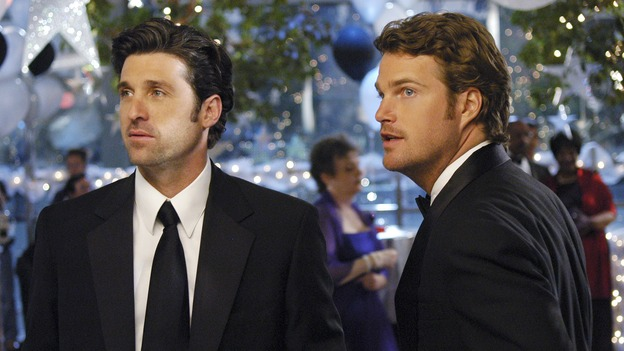 GREY'S ANATOMY - In the first hour of part two of the season finale of ABC's &quot;Grey's Anatomy&quot; -- &quot;Deterioration of the Fight or Flight Response&quot; -- Izzie and George attend to Denny as the pressure increases to find him a new heart, Cristina suddenly finds herself in charge of an ER, and Derek grapples with the realization that the life of a friend is in his hands. In the second hour, &quot;Losing My Religion,&quot; Richard goes into interrogation mode about a patient's condition, Callie confronts George about his feelings for her, and Meredith and Derek meet about Doc. Part two of the season finale of &quot;Grey's Anatomy&quot; airs MONDAY, MAY 15 (9:00-11:00 p.m., ET) on the ABC Television Network. (ABC/GALE ADLER)PATRICK DEMPSEY, CHRIS O'DONNELL