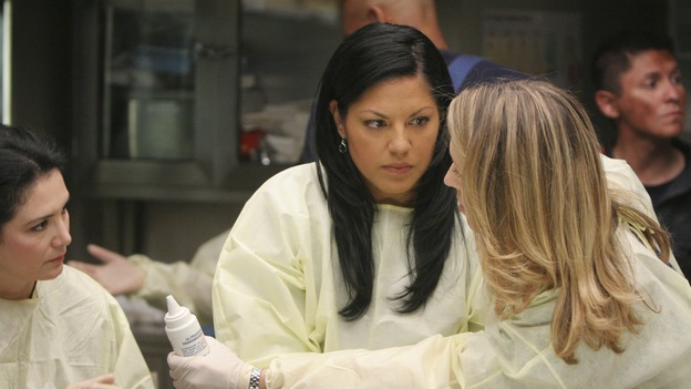 "GREY'S ANATOMY - ""Freedom"" - On the two-hour season finale of ""Grey's Anatomy,"" Meredith and Derek have one last shot at a successful outcome in their clinical trial, as the other surgeons work together to free a boy from a hardening block of cement. Meanwhile, Izzie helps Alex care for an ailing Rebecca, and Lexie discovers critical information about George's intern status, on ""Grey's Anatomy,"" THURSDAY, MAY 22 (9:00-11:00 p.m., ET) on the ABC Television Network. (ABC/MICHAEL DESMOND)SARA RAMIREZ, BROOKE SMITH"