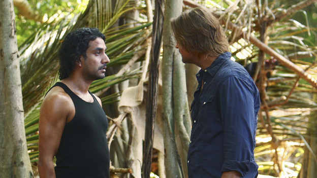 LOST - &quot;Everybody Loves Hugo&quot; - Hurley agonizes over what the group should do next, and Locke is curious about the new arrival to his camp, on &quot;Lost,&quot; TUESDAY, APRIL 13 (9:00-10:02 p.m., ET) on the ABC Television Network. (ABC/MARIO PEREZ) NAVEEN ANDREWS, JOSH HOLLOWAY