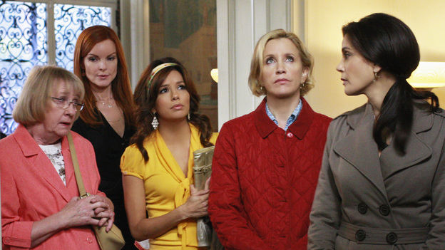 "DESPERATE HOUSEWIVES - ""Look Into Their Eyes and You See What They Know"" -  As the women look back on Edie's life, Susan recalls their first meeting, Lynette reflects on a memorable night out, Bree is reminded of the thoughtfulness she bestowed upon Orson, and Gaby remembers fondly a night of friendly competition."