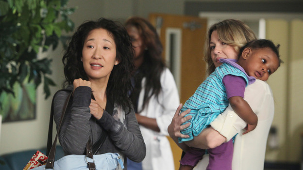 "GREY'S ANATOMY - ""Free Falling"" - In the first hour, ""Free Falling"" (9:00-10:00 p.m.), the fifth-year residents return for the first day of a year that will make or break their careers: Meredith faces the consequences of tampering with Derek's clinical trial and is terminated at the hospital; April tries to step up to the plate as Chief Resident in the wake of a giant sinkhole in the middle of Seattle; and Cristina and Owen are still at odds over their drastically different feelings for their unborn child. ""Grey's Anatomy"" returns for its eighth season with a two-hour event THURSDAY, SEPTEMBER 22 (9:00-11:00 p.m., ET) on the ABC Television Network. (ABC/DANNY FELD)SANDRA OH, ELLEN POMPEO"