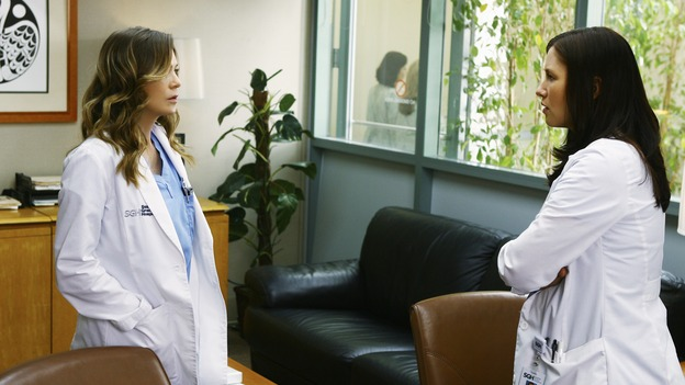 "GREY'S ANATOMY - ""Not Good at Saying Sorry (One More Chance)"" - Meredith and Lexie Grey wait in the Chief's office, unknowingly waiting for an apology from their estranged father, on ""Grey's Anatomy,"" THURSDAY, APRIL 30 (9:00-10:02 p.m., ET) on the ABC Television Network. (ABC/SCOTT GARFIELD) ELLEN POMPEO, CHYLER LEIGH"