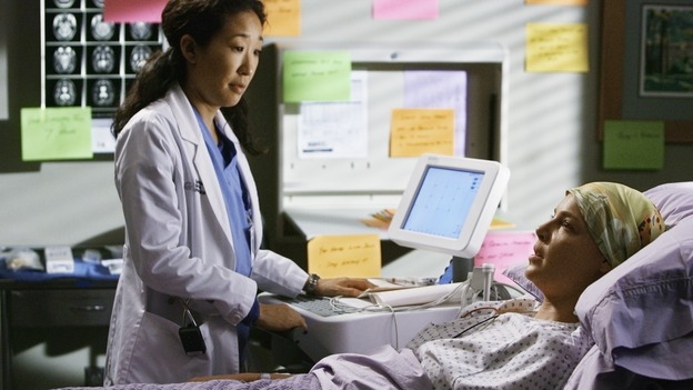 "GREY'S ANATOMY - ""Now or Never"" - Dr. Izzie Stevens confides in Dr. Cristina Yang about a fight she had with her new husband, Dr. Alex Karev, on ""Grey's Anatomy,"" THURSDAY, MAY 14 (9:00-11:00 p.m., ET) on the ABC Television Network. SANDRA OH, KATHERINE HEIGL"