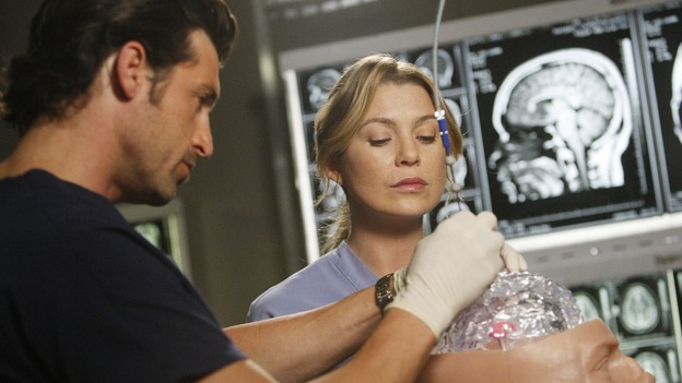 "GREY'S ANATOMY - ""The Becoming"" - The nurses' objections to McSteamy's trysts lead to the instating of a new ""date and tell"" policy. Meanwhile news of Burke's latest career achievements force Cristina to face her feelings for her ex, Meredith and Derek admit a veteran soldier into their clinical trial, and Callie turns to Sloan in her time of need, on ""Grey's Anatomy,"" THURSDAY, MAY 8 (9:00-10:02 p.m., ET) on the ABC Television Network. (ABC/VIVIAN ZINK)PATRICK DEMPSEY, ELLEN POMPEO"