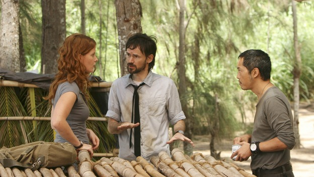 "LOST - ""Cabin Fever"" - Locke is enlightened as to the whereabouts of Jacob's cabin, and life aboard the freighter becomes perilous, on ""Lost,"" THURSDAY, MAY 8 (10:02-11:00 p.m., ET) on the ABC Television Network. (ABC/MARIO PEREZ)REBECCA MADER, JEREMY DAVIES, KEN LEUNG"