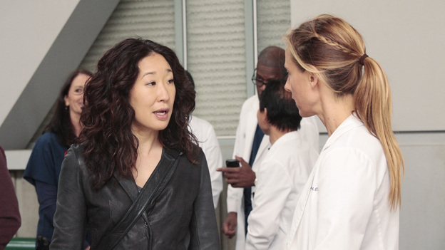 "GREY'S ANATOMY - ""Moment of Truth"" - After eight years of practice, the residents head to San Francisco for their oral boards; sparks fly between Catherine and Richard when they bump into each other at the hotel; Bailey intervenes after Owen and Teddy get into a heated argument about their young car crash patient; and Mark tries to recruit Lexie for one of his cases. Meanwhile, Alex feels guilty for being away from the hospital when Tommy's health begins to fail, on Grey's Anatomy, THURSDAY, APRIL 26 (9:00-10:01 p.m., ET) on the ABC Television Network. (ABC/RICHARD CARTWRIGHT)SANDRA OH, KIM RAVER"