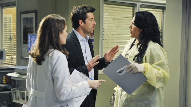 "GREY'S ANATOMY - ""Valentine's Day Massacre"" -- It's Valentine's Day, and the doctors must treat dozens of injured people after the roof collapses at a popular romantic restaurant; Derek tries to manage his busy schedule as Chief of Surgery; Meredith wrestles with her new duties as the Chief's wife; and Mark and Callie team up to convince Sloan to do the right thing for her baby, on ""Grey's Anatomy,"" THURSDAY, FEBRUARY 11 (9:00-10:01 p.m., ET) on the ABC Television Network. (ABC/ERIC MCCANDLESS)SARAH DREW, PATRICK DEMPSEY, SARA RAMIREZ"