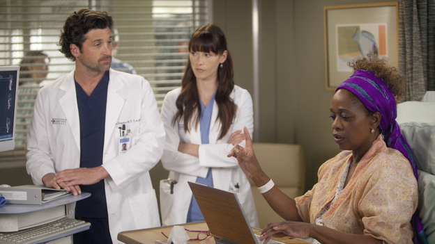 "GREY'S ANATOMY - ""Heart-Shaped Box"" - The doctors become nostalgic when George O'Malley's mother, Louise, returns to Seattle Grace for medical help after a botched surgery at a neighboring hospital; the residents are inspired by a medical miracle when they witness a harvested heart that continues to beat outside the body; a new pediatric fellow excites Arizona and makes Alex feel threatened; Jackson lets his suspicions about Mark and Lexie interfere with his work; and Henry and Teddy have their first marital fight when he expresses interest in pursuing medical school, on ""Grey's Anatomy,"" THURSDAY, NOVEMBER 3 (9:00-10:02 p.m., ET) on the ABC Television Network. (ABC/RANDY HOLMES)PATRICK DEMPSEY, CHYLER LEIGH, ALFRE WOODARD"