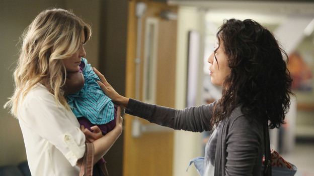 "GREY'S ANATOMY - ""Free Falling"" - In the first hour, ""Free Falling"" (9:00-10:00 p.m.), the fifth-year residents return for the first day of a year that will make or break their careers: Meredith faces the consequences of tampering with Derek's clinical trial and is terminated at the hospital; April tries to step up to the plate as Chief Resident in the wake of a giant sinkhole in the middle of Seattle; and Cristina and Owen are still at odds over their drastically different feelings for their unborn child. ""Grey's Anatomy"" returns for its eighth season with a two-hour event THURSDAY, SEPTEMBER 22 (9:00-11:00 p.m., ET) on the ABC Television Network. (ABC/DANNY FELD)ELLEN POMPEO, SANDRA OH"