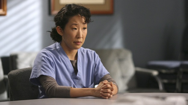 "GREY'S ANATOMY - In the first hour of part two of the season finale of ABC's ""Grey's Anatomy"" -- ""Deterioration of the Fight or Flight Response"" -- Izzie and George attend to Denny as the pressure increases to find him a new heart, Cristina suddenly finds herself in charge of an ER, and Derek grapples with the realization that the life of a friend is in his hands. In the second hour, ""Losing My Religion,"" Richard goes into interrogation mode about a patient's condition, Callie confronts George about his feelings for her, and Meredith and Derek meet about Doc. Part two of the season finale of ""Grey's Anatomy"" airs MONDAY, MAY 15 (9:00-11:00 p.m., ET) on the ABC Television Network. (ABC/SCOTT GARFIELD)SANDRA OH"