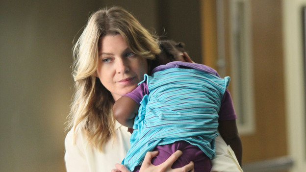 "GREY'S ANATOMY - ""Free Falling"" - In the first hour, ""Free Falling"" (9:00-10:00 p.m.), the fifth-year residents return for the first day of a year that will make or break their careers: Meredith faces the consequences of tampering with Derek's clinical trial and is terminated at the hospital; April tries to step up to the plate as Chief Resident in the wake of a giant sinkhole in the middle of Seattle; and Cristina and Owen are still at odds over their drastically different feelings for their unborn child. ""Grey's Anatomy"" returns for its eighth season with a two-hour event THURSDAY, SEPTEMBER 22 (9:00-11:00 p.m., ET) on the ABC Television Network. (ABC/DANNY FELD)ELLEN POMPEO"