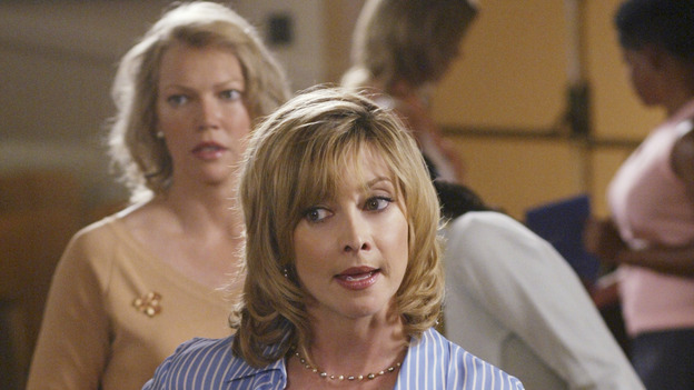 "DESPERATE HOUSEWIVES - ""Running to Stand Still"" -- Lynette locks horns with an officious mom (guest star Sharon Lawrence) at the twinsÕ school who is trying to produce a Òpolitically correctÓ play about Little Red Riding Hood. Meanwhile, Susan continues to investigate the mystery of ZachÕs sudden disappearance, Mama Solis (guest star Lupe Ontiveros) comes closer to discovering GabrielleÕs dirty little secret, and Bree comes undone when Rex suggests they hire a sex surrogate, on ÒDesperate Housewives,Ó SUNDAY, NOVEMBER 7 (9:00-10:00 p.m., ET) on the ABC Television Network. (ABC/DANNY FELD) SHANNON O'HURLEY, SHARON LAWRENCE"