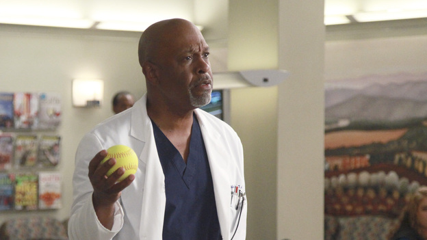 GREY'S ANATOMY - &quot;Put Me In, Coach&quot; - Owen stresses teamwork and moves his leadership role over to the baseball field when he signs the doctors up for a baseball league, pitting them against their biggest competition, Seattle Presbyterian; Lexie tries to hide her jealous rage when she sees Mark with a new woman, but her emotions get the better of her; Alex fights to keep Zola at Seattle Grace after it is suggested that she be moved to another hospital due to a conflict of interest with Meredith and Derek; and Richard scolds Meredith and Bailey for their feud, on Grey's Anatomy, THURSDAY, OCTOBER 27 (9:00-10:02 p.m., ET) on the ABC Television Network. (ABC/RICHARD CARTWRIGHT)JAMES PICKENS JR.
