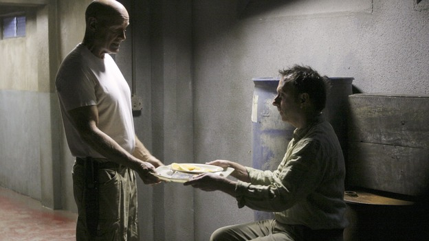 "LOST - ""Eggtown"" - Kate's need to get information out of the hostage may jeopardize her standing with Locke -- as well as with Sawyer -- on ""Lost,"" THURSDAY, FEBRUARY 21 (9:00-10:02 p.m., ET) on the ABC Television Network. (ABC/MARIO PEREZ)TERRY O'QUINN, MICHAEL EMERSON"