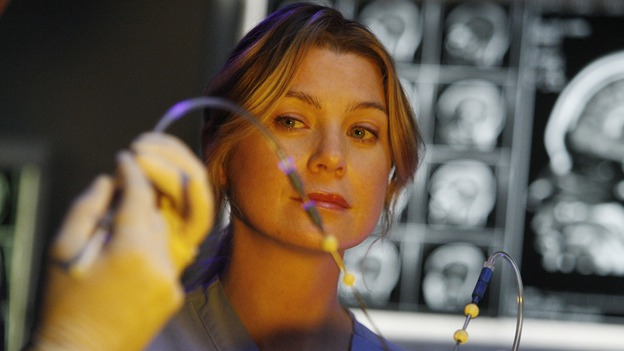 "GREY'S ANATOMY - ""The Becoming"" - The nurses' objections to McSteamy's trysts lead to the instating of a new ""date and tell"" policy. Meanwhile news of Burke's latest career achievements force Cristina to face her feelings for her ex, Meredith and Derek admit a veteran soldier into their clinical trial, and Callie turns to Sloan in her time of need, on ""Grey's Anatomy,"" THURSDAY, MAY 8 (9:00-10:02 p.m., ET) on the ABC Television Network. (ABC/VIVIAN ZINK)ELLEN POMPEO"